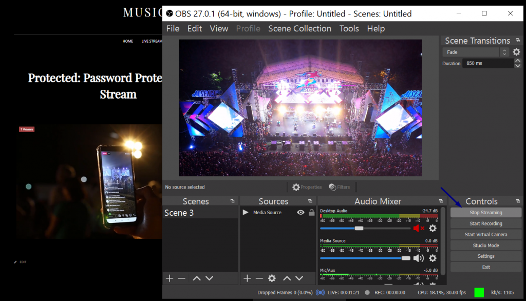 password protected live streaming